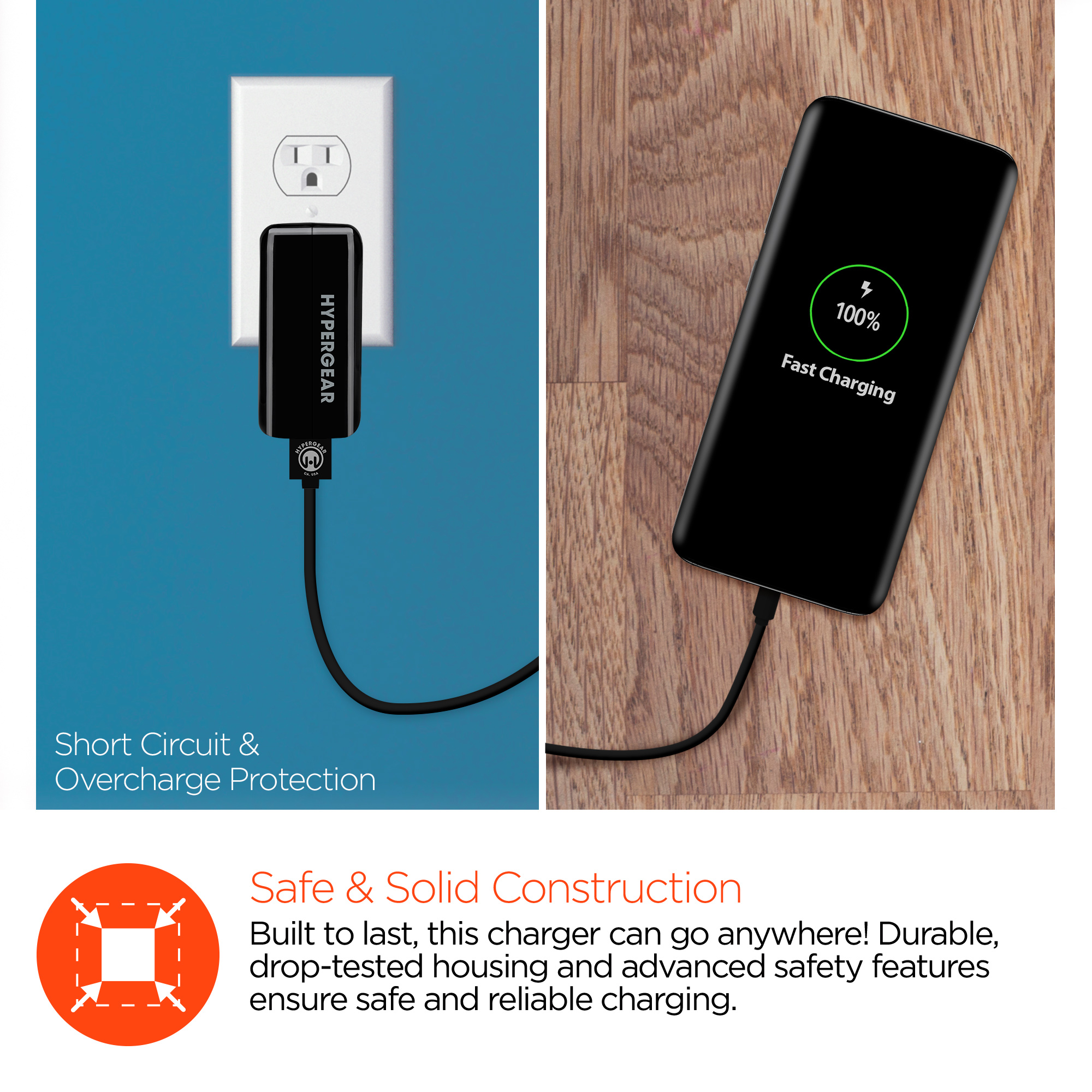 HyperGear Adaptive Fast Charge + USB C Wall Charger w